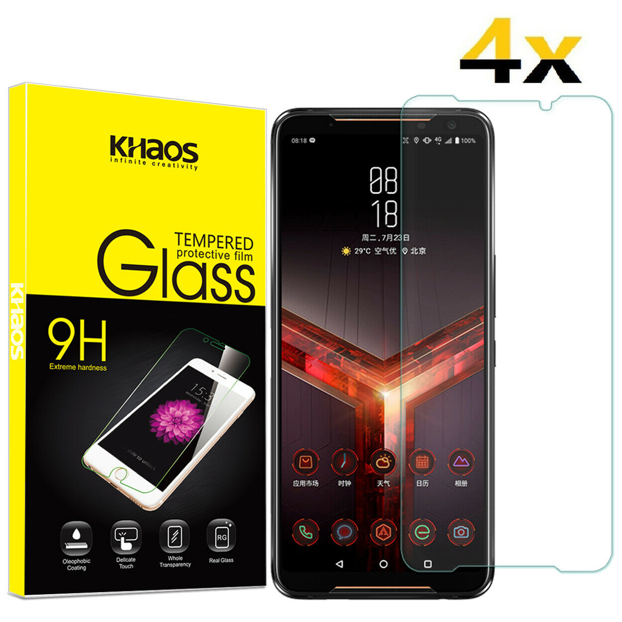 4-Pack Khaos For ASUS ROG Phone 2 (ZS660KL) Tempered Glass Screen Protector