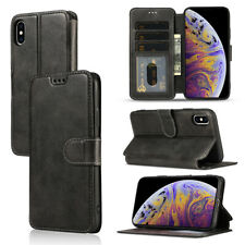 Black Card Slot Flip Wallet Phone Case Cover fit for iPhone Samsung A12 S21 S20