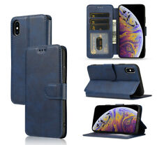 Blue Card Slot Flip Wallet Phone Case Cover fit for iPhone 11 12 Samsung A12 S21