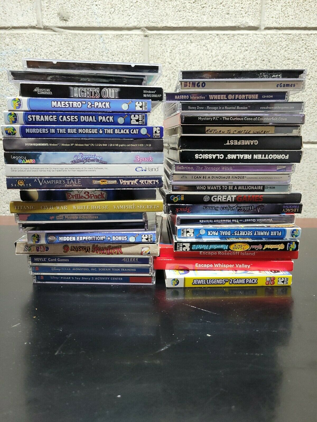 Game LOT OF 38 PC CD-ROM Games Computer Games Big Fish, Nancy Drew, Lights Out