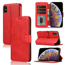 Red Card Slot Flip Wallet Phone Case Cover fit for iPhone 12 Samsung A12 S21 S20
