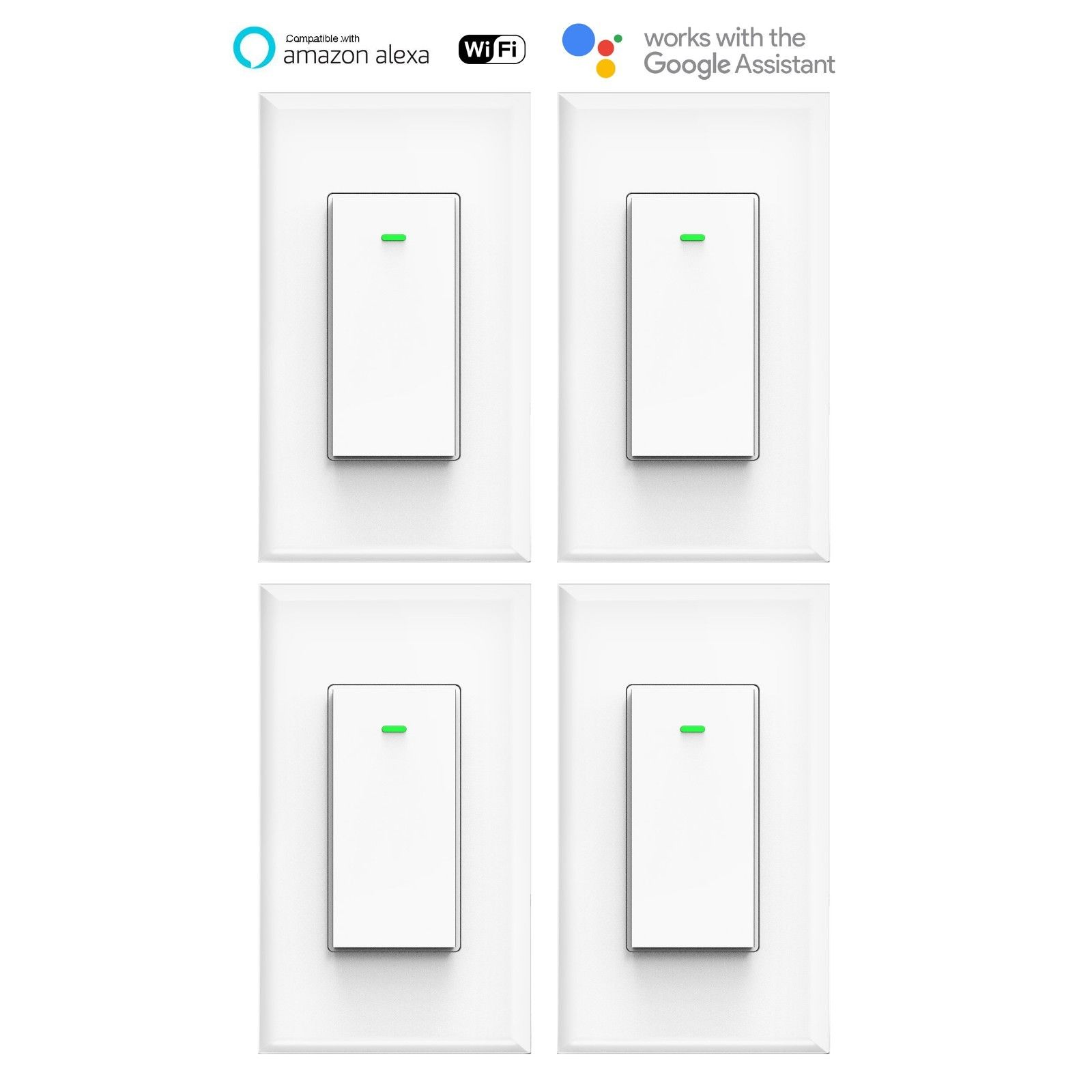 Smart WIFI Switch Light Wall Works with Alexa Google Home voice smart life 4pack