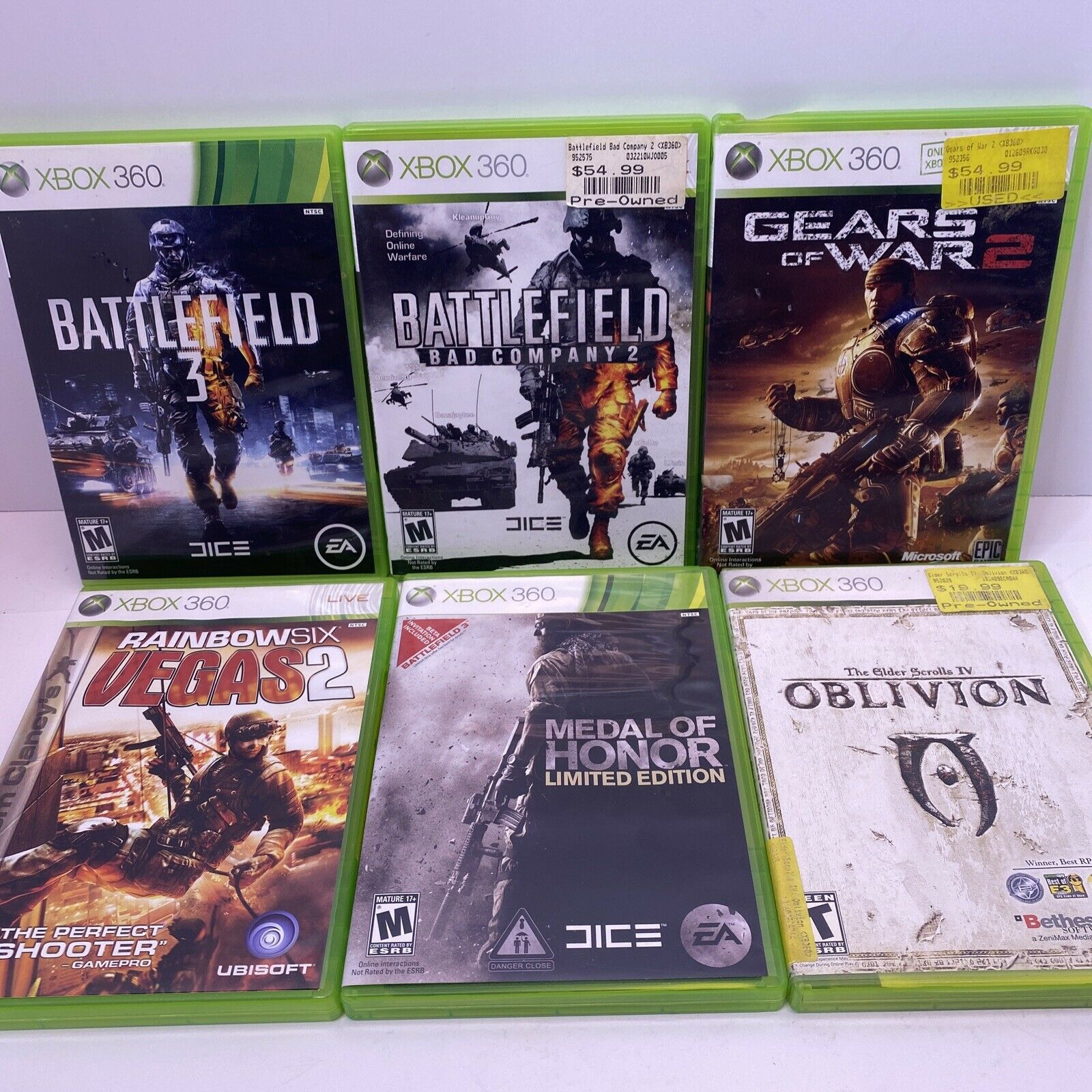 Xbox 360 Games Lot 6 Games Rainbow Six Medal Of Honor Gears Of War Battlefield